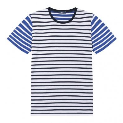 Le Mitch - T Shirt French Mariniere Blau gestreift