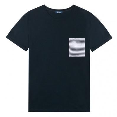 Le Nicolas - Blau T Shirt - Tasche mit blauen Streifen