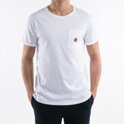 Le Matthew - weiß T shirt - Tasche mit blauen Punkt