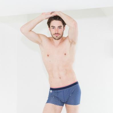 Le Pointilleux - Blaue Trunkshorts gepunktet