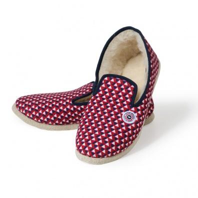 Les Tire Fesse - Rote Pantoffeln im Dreiecksmotiv