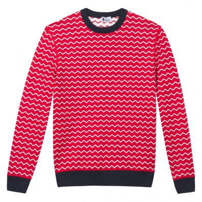 Le Mono - Pull rouge rayures blanches