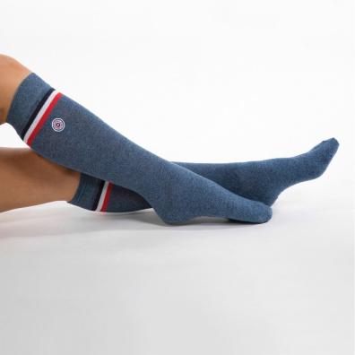 Huez - Blau melierte Socken