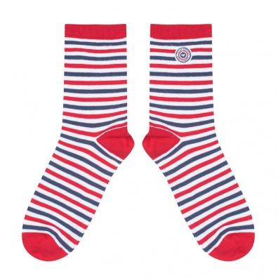 Les Chauvins - Blau-Weiß-Rot gestreifte Socken