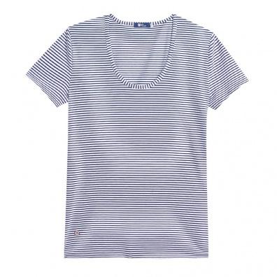 Le Brigitte - Blau-Weißes T-Shirt mit O-Ausschnitt