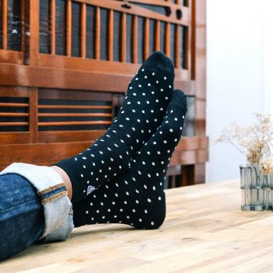 Les Lucas Pois - Blau-Weiße Socken