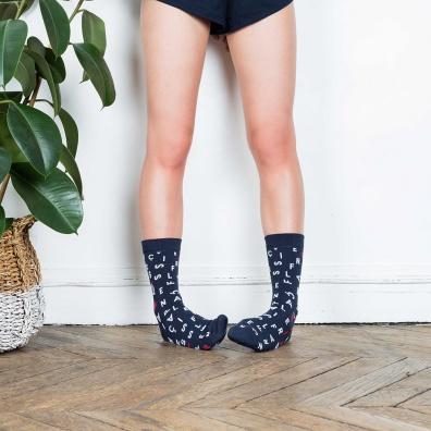 Les Lucas - Socken mit Kreuzworträtsel-Design