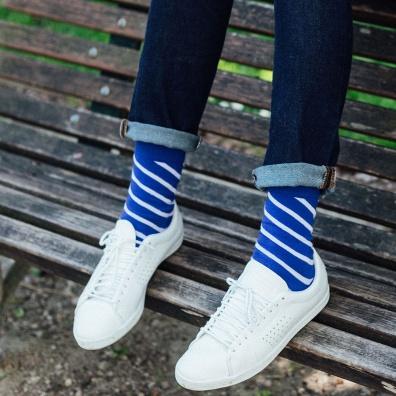 Les Lucas - blau gestreifte Socken